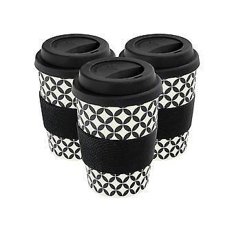 Reusable Coffee Cups - Bamboo Fibre Travel Mugs with Silicone Lid, Sleeve - 350ml (12oz) - Circles - Black - x3