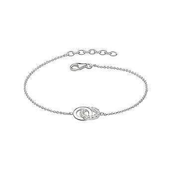 Dew Silver Set Double Cubic Zirconia Circle 7.5 Bracelet 7819CZ022