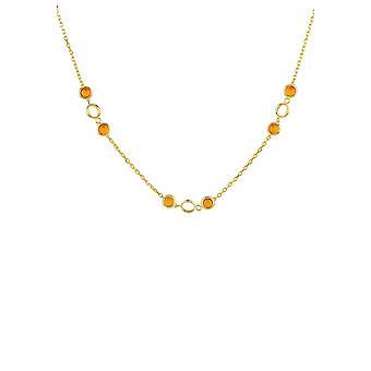 Link Gemstone collar oro Citrine Yelloe boda regalo cadena de dama de honor 925