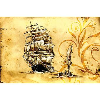 Wallpaper Mural Sea boat art design drawing (400x260 cm)