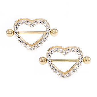Bouclier pavé de mamelon de coeur avec des bijoux de cz noir, or, or rose et couleurs d'acier