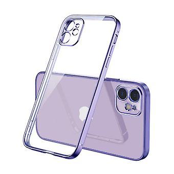 PUGB iPhone 12 Mini Case Luxury Frame Bumper - Case Cover Silicone TPU Anti-Shock Purple