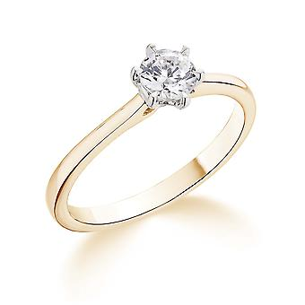 9K Yellow Gold 6 Claw Tapered Setting 0.40Ct Certified Solitaire Diamond Engagement Ring