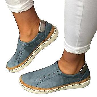 עור נעליים קז'ואל נשים ללא שרוכים נעלי ספורט נוחות נעליים