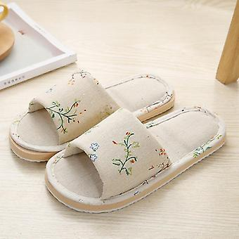 Frauen Home Hausschuhe Indoor Floor Soft Couple Leinen Slipper