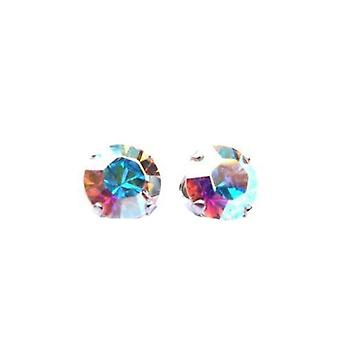 Sterling Silver Unisex Studs Earrings 2 Carat Swarovski Crystal - Aurore Boreale