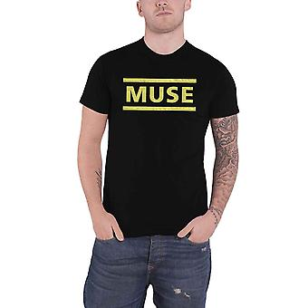 Muse T Shirt Yellow Band Logo new Official Mens Black