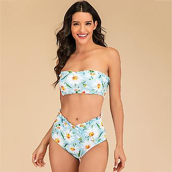 Floral Printed High Waist Trimmed Swimwear