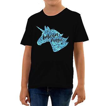 Reality glitch unicorn magic kids t-shirt