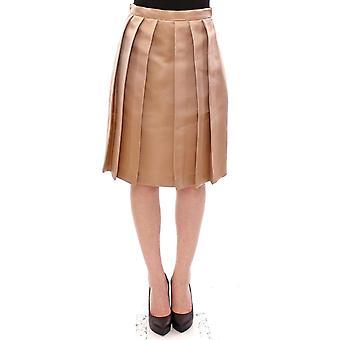 Brown silk solid mini pleated skirt