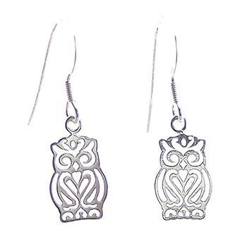 Uilen Sterling Silver Hook Oorbellen .925 X 1 Pair Owl Drops