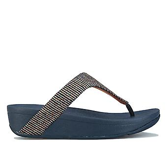 Women's Fit Flop Lottie Glitter Stripe Toe Thong Sandals in Blue