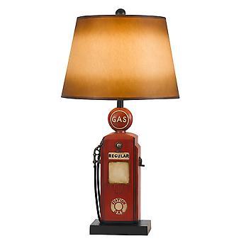 Lámpara de mesa de resina de tema de bomba de gas con sombra de papel cónico, rojo y amarillo