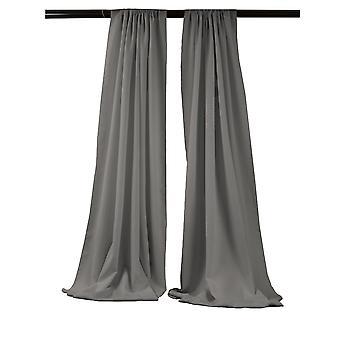 La Linen Pack-2 Polyester Poplin Backdrop Drape 96-Inch Wide By 58-Inch High, Dark Gray