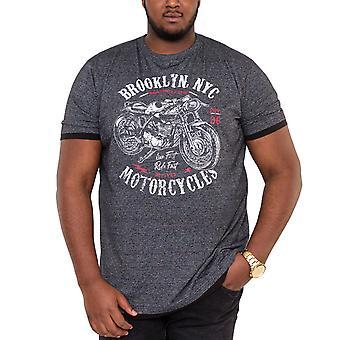 Duke D555 Mens Roman Big Tall King Size Motorcycle Print T-Shirt Top Tee - Black