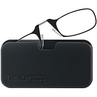 ThinOptics Armless Glasses with Universal Case - Black Frame, Black Pod