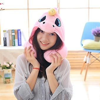 Cuite Cartoon Unicorn Neck Rest U-Shaped Travel Hooded Pillow Cushion Compact Soft Trip Airplane Bus Noon Break Need Relax Neck