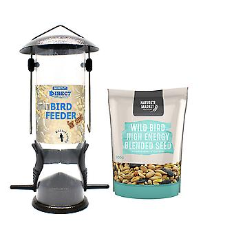 1 x Simply Direct Premium Hammertone Wild Bird Seed Feeder with 0.9KG bag of High Energy Feed
