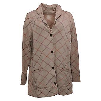 kos duds kvinner 's komfort sjal krage knapp foran cardi brun a368207