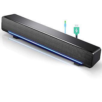 Tragbare Mini-Soundbar, verkabelter USB-Soundbar-Lautsprecher, Musik-Player, Bass-Surround mit