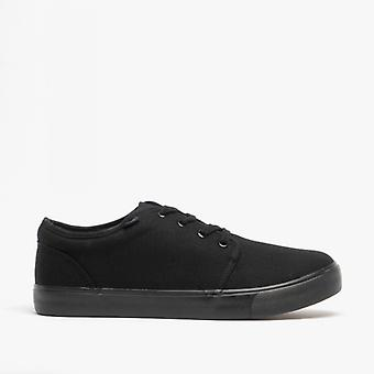 DEK Bailey Unisex Canvas Lace Up Padded Trainers Black
