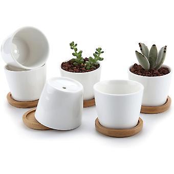 Wokex 6.5CM Keramik Sukkulenten Töpfe Kaktus Pflanze Töpfe Mini Blumentöpfe mit Bambusuntersetzer