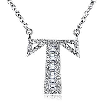 Gemshadow initial Sterling 925 silver necklace with zircon personalized letter gifts for women girls, cod. AQEN000058