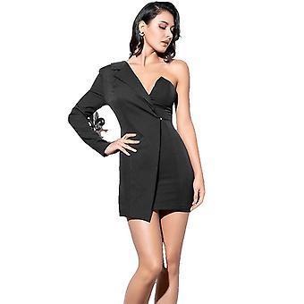 Sexy Negro Irregular Collar Micro-Elástico Tela De Manga Larga Vestido de Fiesta Para Damas