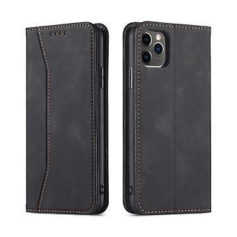 Flip folio skórzany futerał na iPhone 12 mini czarny pns-4350