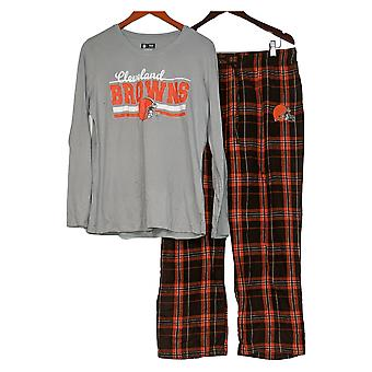 NFL Conjunto de pijama de mujer W / Top de manga larga y pantalones de franela naranja A387687