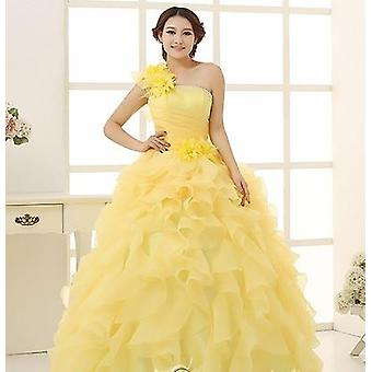 Colorido Organza A Line Beading Ruched One Shoulder Wedding Dress