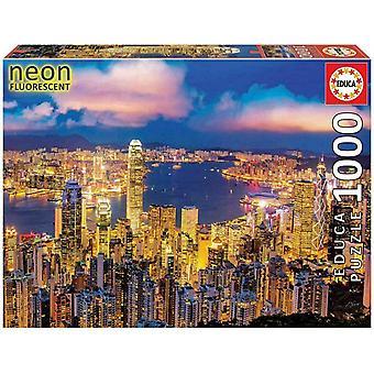 Educa - Hong Kong Skyline -  1000pc Neon Glow Puzzle