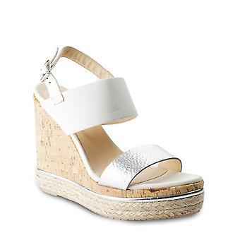 Hogan Women's wedge shoes in white and silver leather with ankle strap