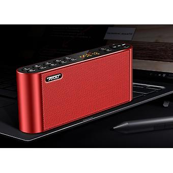 Portable, wireless bluetooth speaker with digital FM radio, MP6 player and powerful built-in microphone and two speakers,Red