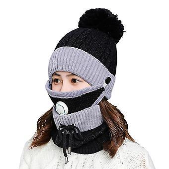 Zestaw maski do szalika zimowego z zaworem oddechowym zagęszczona czapka z dzianiny (czarna)