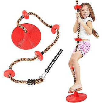 Swing Climbing Rope For Kids,climbing Rope With Platforms Disc Swing Rope(Red)