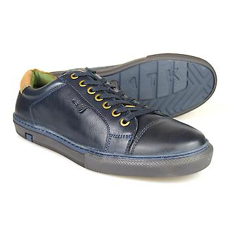 Silver Street London Cross Mens Navy Leather Casual Shoes