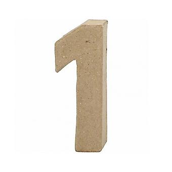 ÚLTIMOS - 10cm Pequeno papel Mache Número 1 | Formas de Mache de papel | Papier Mache