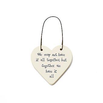 Together We Have It All - Mini Wooden Hanging Heart - Cracker Filler Gift