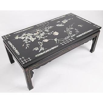 Hieno aasialainen, kiinalainen sohvapöytä, jossa on todellinen helmiäinen ja käsinmaalattu