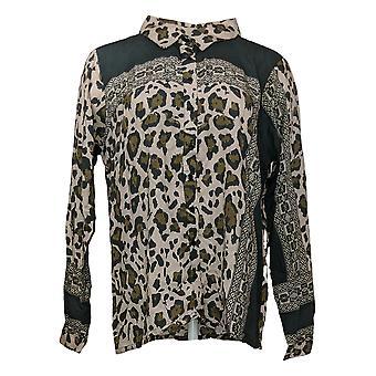 Tolani Collection Damen Top Leopard Print Knopf vorne Grau A389942