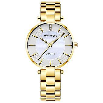 Elegant Dress Analog Clock Metal Strap Fashion Women Watch Quartz Watch GOLD WHITE COLOUR