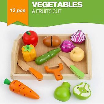 15 tyyliä puinen simulaatio muna keittiö sarja leikata hedelmiä ja vihanneksia