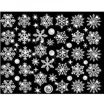 Evago 2pcs 30cm*37cm Christmas Snowflake Window Cling Stickers For Glass, Xmas Decals Decorations Holiday Snowflake Santa Claus Reindeer Decals For Pa