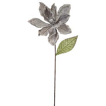 53cm Silver Velvet och Glitter Magnolia Stem för blomsterhantverk