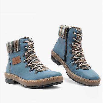 Rieker Z6743 Ladies Ankle Boots Blue/combi