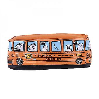 Cute Students School Bus Pencil Case Office Stationery Organizer Pouch Car Makeup Bag Holder For Women Children Girl