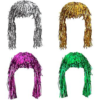 4 Pieces Foil Tinsel Wigs Fancy Dress Shiny Party Wig Metallic Costume Cosplay Supplies