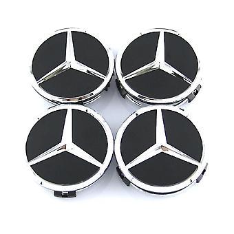Zwart/zilver Mercedes Benz Wheel Center Caps Nav märken 60mm 4 St Voor W202 W203 W204 W208 W210