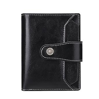 Small Wallet For Women Genuine Leather Bifold Compact Rfid Blocking Small Womens Wallet,black